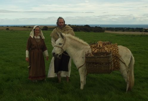 Sister Withburga, Brother Egbert and Frances the Mule on Cleedon Hill for the opening of the Bede's Way footpath between Jarrow and Monkwearmouth in September 2004